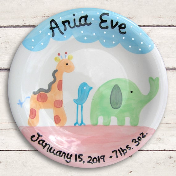 Unique Baby Gift - Safari Nursery - New Baby - Birth Announcement - Birth Stats - Baby Girl - Newborn Baby Girl - Personalized Baby Girl