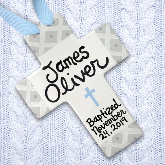 Baby Baptism Gift - Ceramic Cross - Baptism Cross - Gray Baptism - Baby Boy Gift - Baptism Gift for Boy - Personalized Baptism Gift