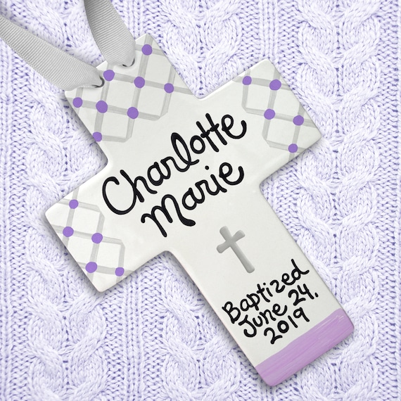 Girls First Communion Gift - Girls Baptism Cross -  Personalized Cross - Goddaughter Gifts - Baptism Gifts for Godchild -  Godchild Gift