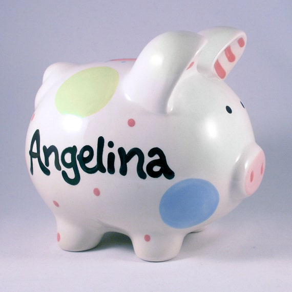 Baby Girl , New Baby Gift, Personalized Piggy Bank, Girl Nursery Decor,  Polkadot Girl