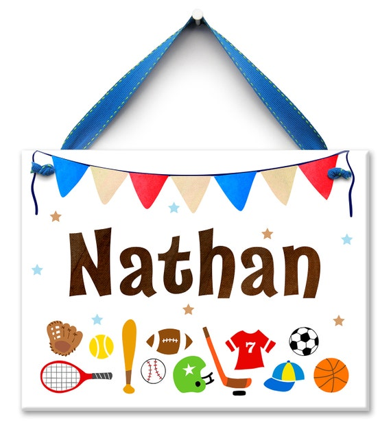Sports Boys Room - Sports Art - Personalized Kids Sign - Sports Baby Shower - Baseball - Sports Room Sign - Bedroom Name Sign - Boys Room