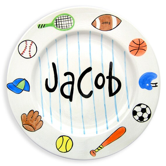 Sports Plate - Personalized Plate - Sports Decor - Personalized Gifts for Kids