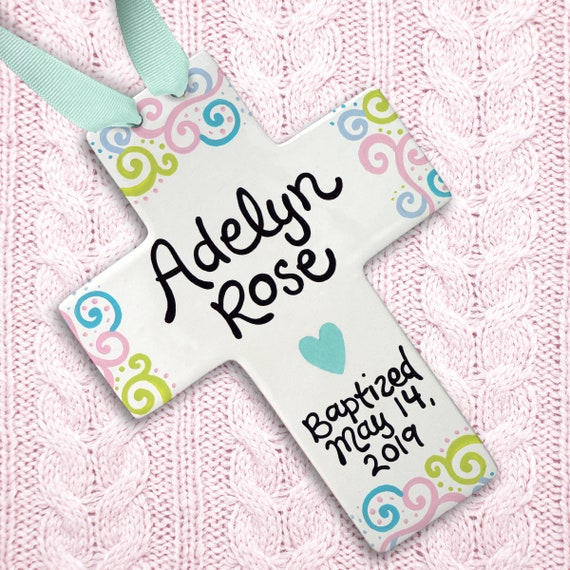 Personalized Baptism Cross - Pink Whale - Personalized Baptism Gift - Girl Baptism - Dedication Gift - Christening Gift - Religious Ceremony