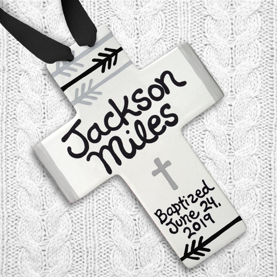 Cross Personalized - Black and White Nursery - Baptism Cross - Personalized Baptism Gift - Boho Baby Boy - Modern Baby Gift - Baptism Gift