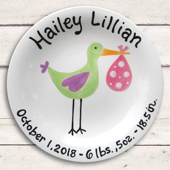 Unique Baby Gift - Personalized Baby - Baby Girl Gift -  Twins Newborn Adoption -  Baby Girl Stork - Baby Personalized - Ceramic Plate -