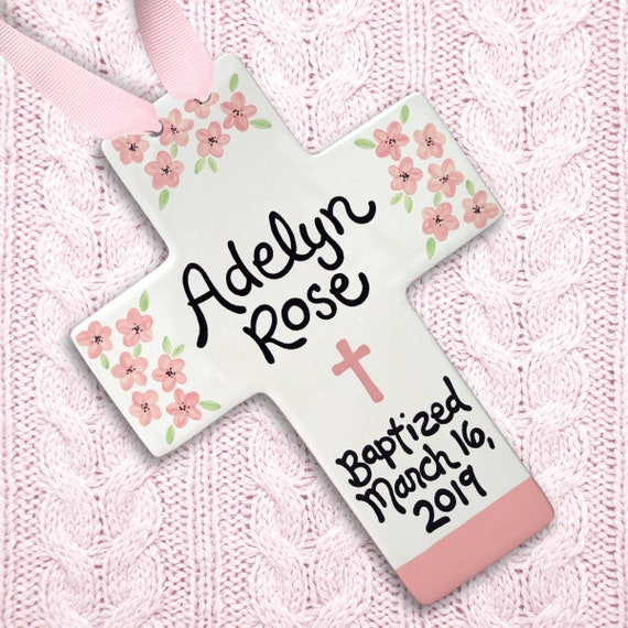 Baptism Gift for Girl - Baptism Cross Pink Flowers - Gift from Godmother - Baptism Gift for Goddaughter - Christening Gift -  Godchild Gift