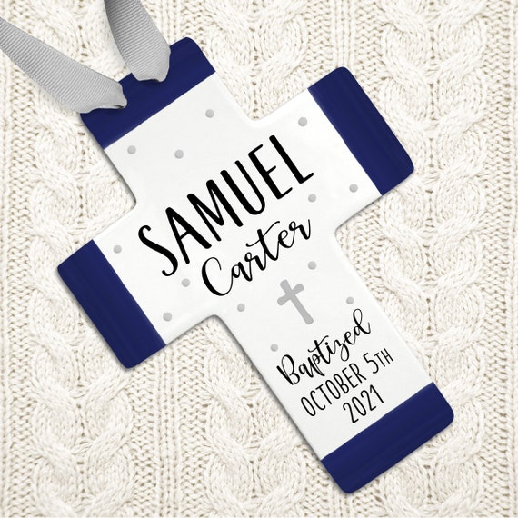 Baptism Gifts, Personalized Baptism Cross, Navy Baptism, Gray Baptism, Baptism Gift Boy, Personalized Baptism, Baptism Wall Cross, Godchild