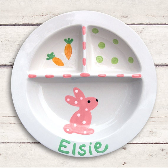 Pink Bunny Plate - First Easter - Personalized Easter Basket - Easter Bunny - 1st Easter Girl - Easter Gift Girl - Personalized Plate