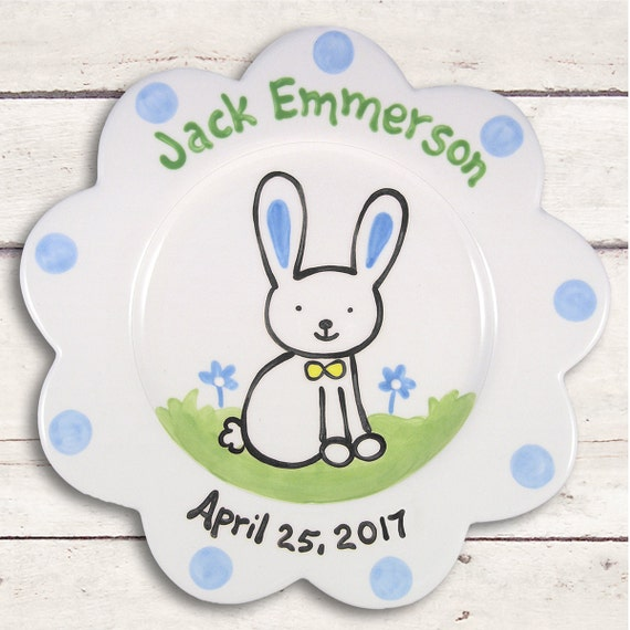 Personalized Baby Boy Gift - First Easter - New Baby Gift Birth Plate -  Personalized Baby Item-  Newborn Keepsake - Baby Boy - 1st easter