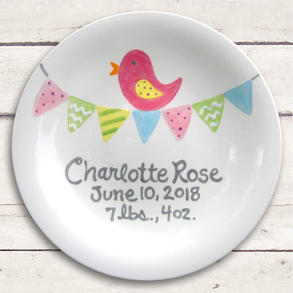 Baby Gift - Personalized Plate - Hand Painted Baby Girl Ceramic  - Custom Made - Pink Bird
