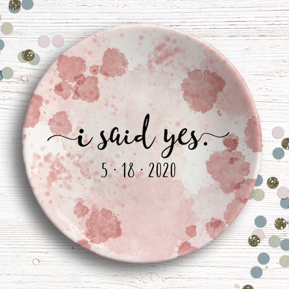 I Said Yes - Ring Dish - Engagement Gift  - Personalized Jewelry Dish - Engagement Announcement - Newly Engaged Gift - Future Mrs Gift