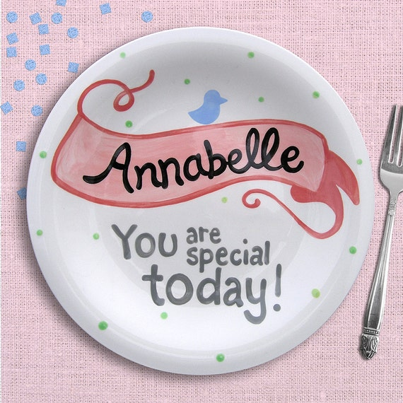 You Are Special Today Plate - Personalized Kids Dinnerware - Hand Painted Ceramic Plate - Personalized Plate -Girl Banner - Flower Girl Gift