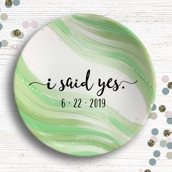 Engagement Annoucement - I Said Yes - Ring Holder - Bride to Be Gift - Engagement Ring Dish Personalized - Future Mrs - I asked. I said Yes