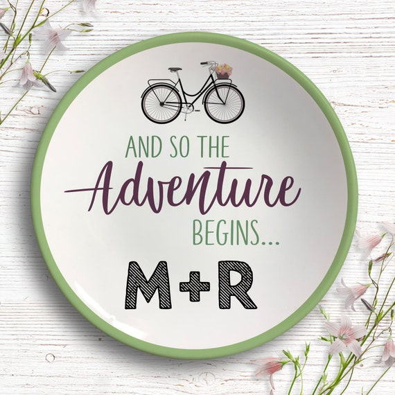 And So The Adventure Begins - Ring Dish - Adventure Engagement Gift  - Personalized Jewelry Dish - Newly Engaged Gift - Vintage Bicycle