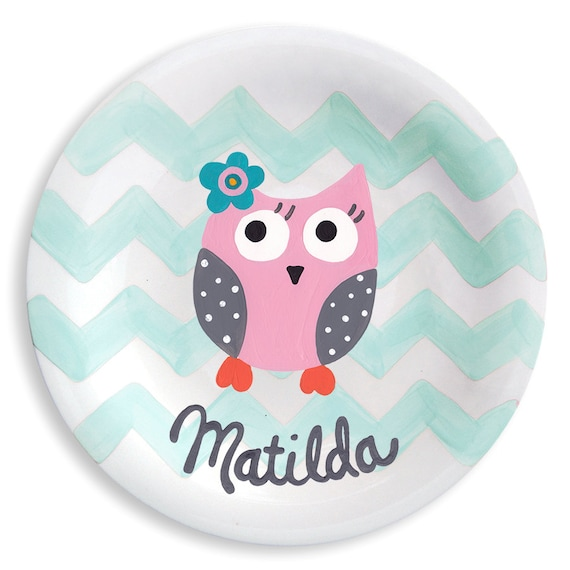 Pink Owl And Chevron Ceramic Plate - Hand Painted Personalized Gift