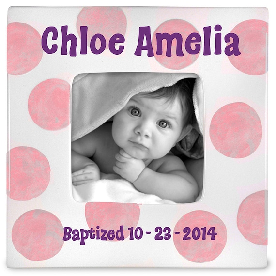 Baptism Gift  , Godparent  Godchild  Gift -  Personalized Baby Keepsake  - Personalized Frame -  Christening - Hand Painted Ceramic