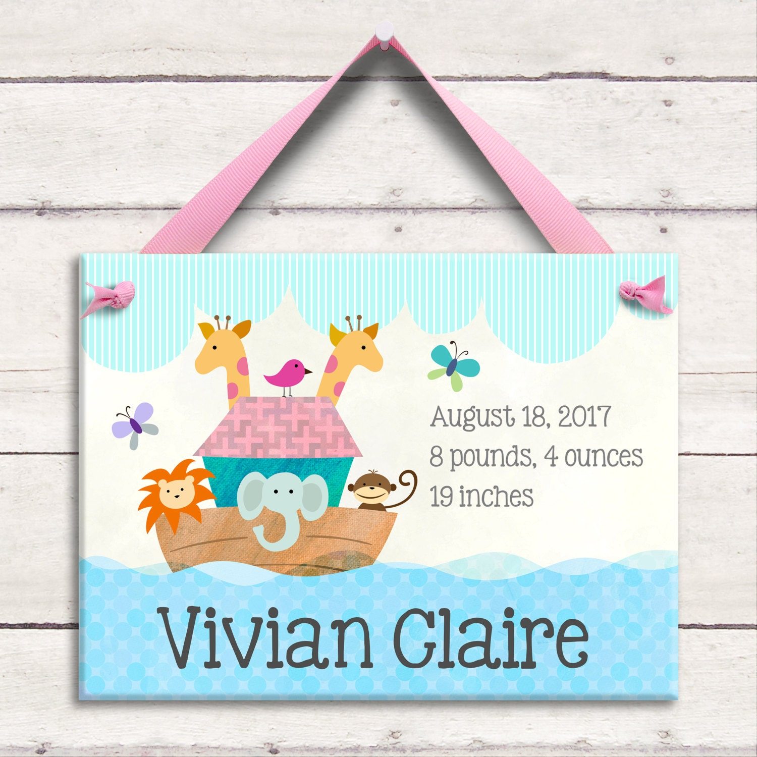 birth announcement personalized wall tile noah s ark unique baby