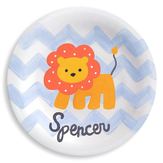 Baby Boy Plate - Kids Tableware - Hand Painted Personalized -  Lion Chevron Ceramic Plate  -  Jungle Baby Boy