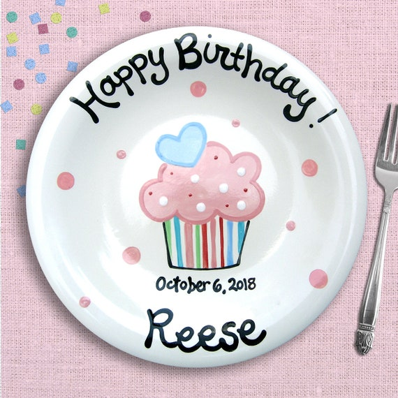 Girl Birthday Party - Custom Birthday Plate -   Cupcake Plate  -  Hand Painted Ceramic -  Personalized Birthday