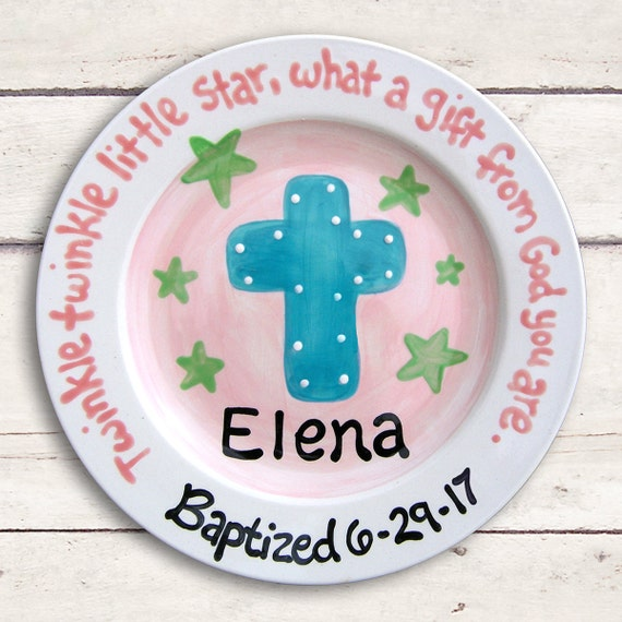 Personalized Cross Baptism Christening Ceramic Keepsake Plate , Godparent Godchild Gift - Baby Boy or Girl Gift