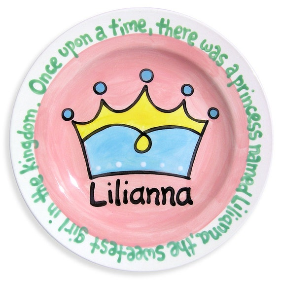 Personalized Kids Princess Plate - Mealtime Plate with Crown - Sweet Princess Crown Ceramic Plate