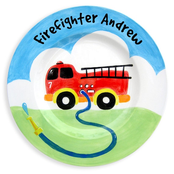 Personalized  Hand Painted Firetruck Ceramic Plate