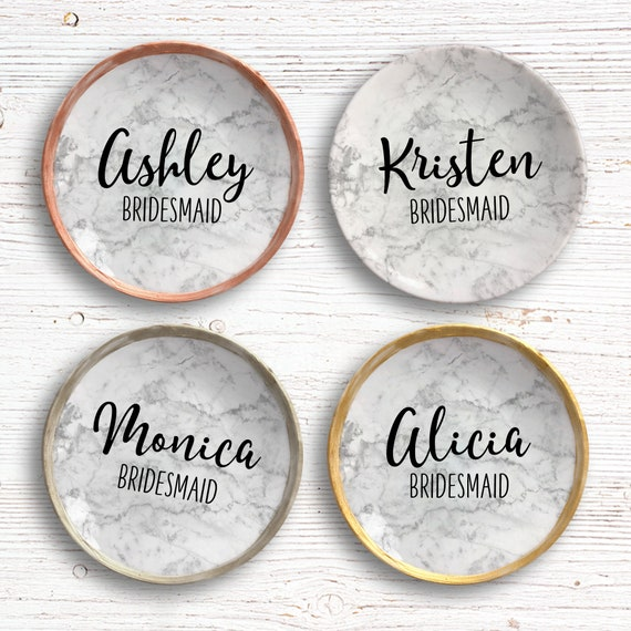 Custom Marble Ring Dish - Bridal Shower Gifts - Gift for Bridal Party - Personalized Jewelry Dish - Gift for Bridesmaid - Bachelorette Party