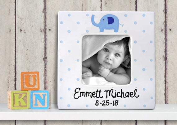 Personalized Baby Picture Frame - Blue Elephant - Hand Painted frame - New Baby Picture Frame -  New Parents - Baby Shower- Photo Frame