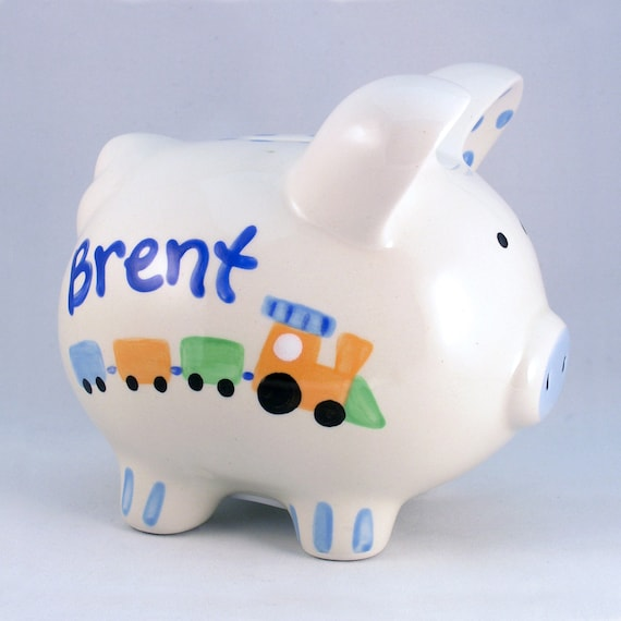 Hand Painted Piggy Bank , Custom Baby Gift, Baby Shower Gift, Baby Boy
