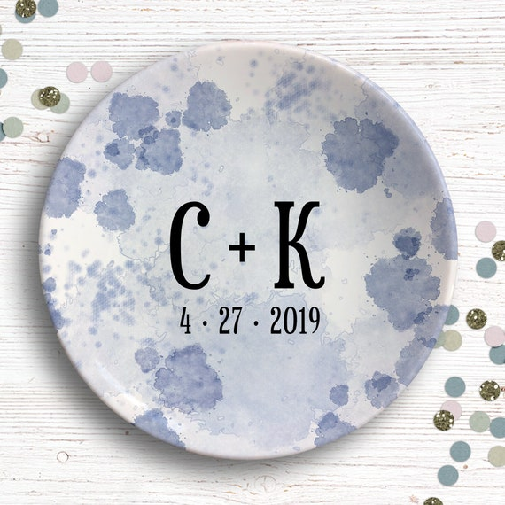Dusty Blue Ring Dish - Engagement Gift for Bride - Initial Ring Dish - Wedding Gift for Couple - Bridal Shower Gift - Custom Mrs Gift