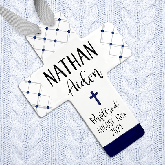 Christening Gifts, Christening Gifts for Boys, Navy Blue Cross, Baby Boy Christening, Godchild Gift, Personalized Baptism Gift, Wall Cross