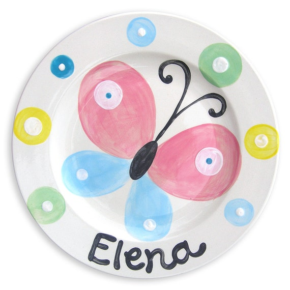 Personalized  Hand Painted Butterfly Ceramic Childrens  Plate - Kids Tableware