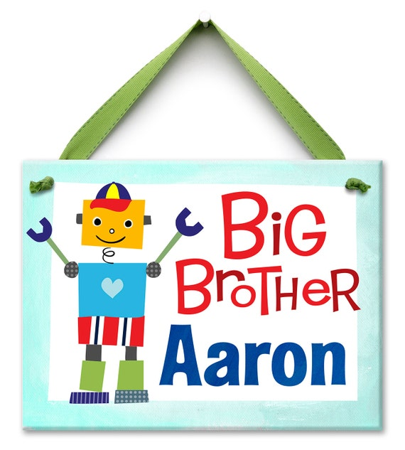 Personalized Big Brother - Robot Kids Art - Ceramic Tile