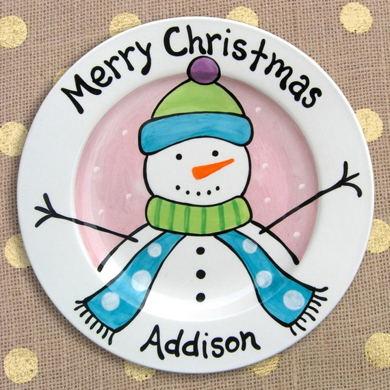 Snowman Plate - Personalized Pink Snowman - Merry Christmas Plate - Do You Want To Build A Snowman - Christmas Decor - Christmas Gift