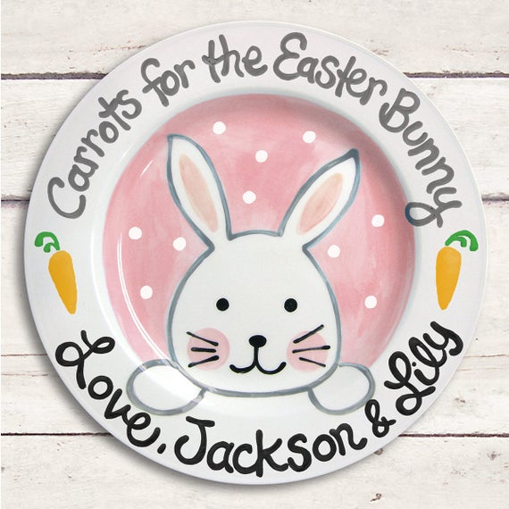 Easter Bunny - Easter Gifts for Kids - Personalized Easter Bunny Plate - Easter Basket Stuffers - Easter Plate - Easter Decor