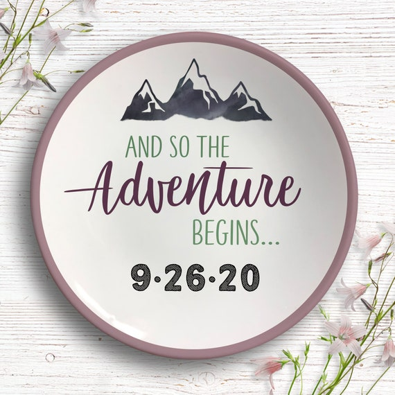 Adventure Engagement Gift  - Personalized Ring Dish - And So the Adventure Begins - Gift Nature Couples - Outdoor Lover Adventure Awaits