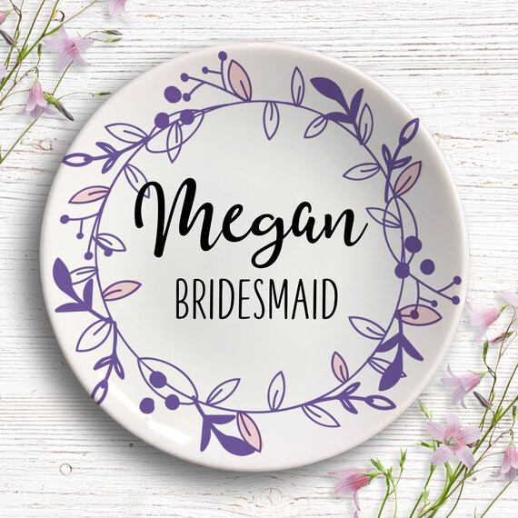 Personalized Bridesmaid Ring Dish - Bridal Party - Jewelry Dish - Thank You Gift for Bridesmaid -  Wedding Party Gift - Custom Wedding Gifts