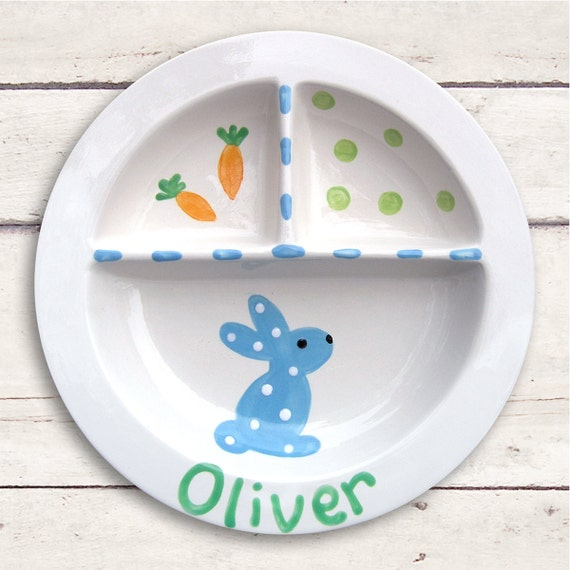 Ceramic Baby Dish Personalized - Easter Bunny - Hand Painted Keepsake - Bunny Baby Decor - Divided Plate