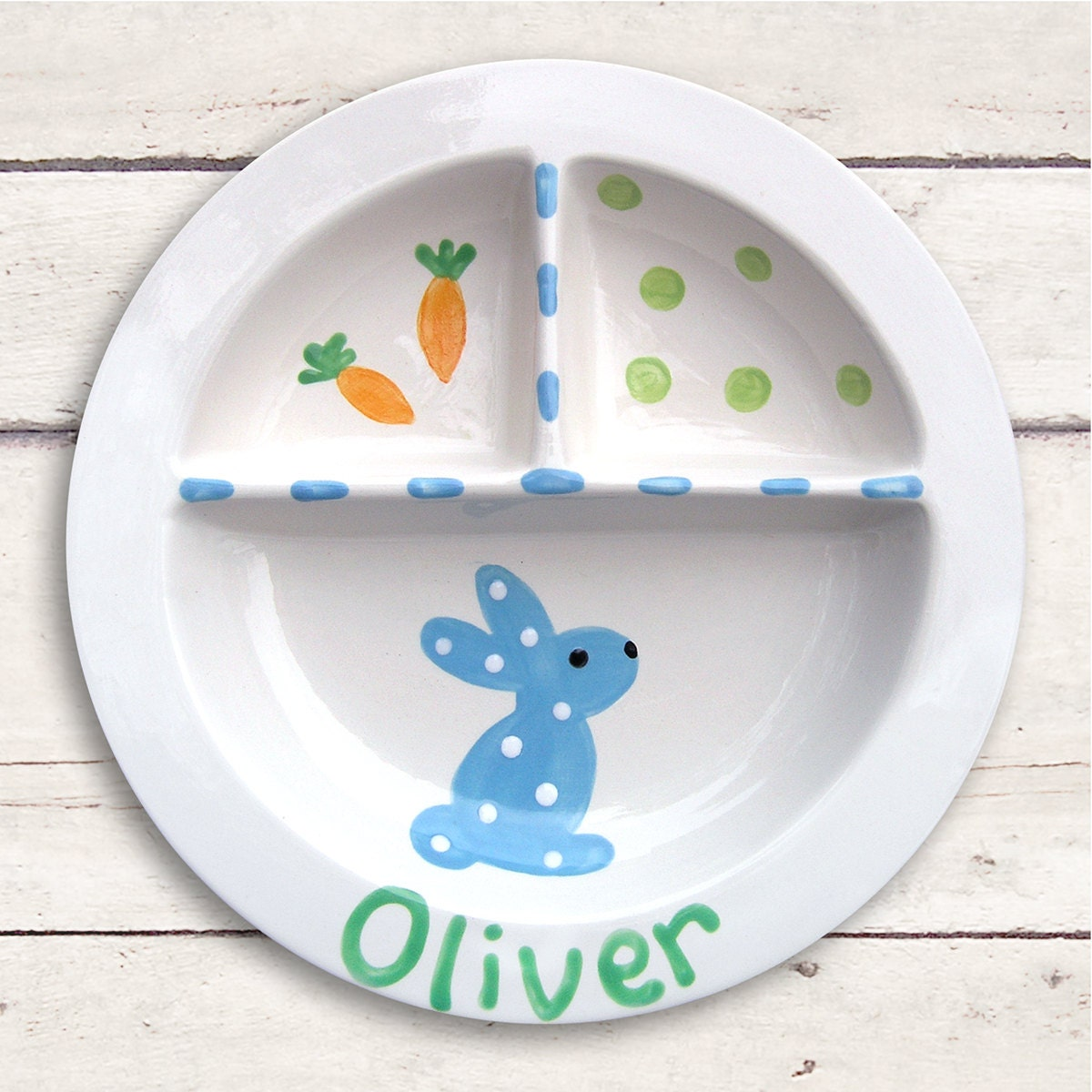 Ceramic Baby Dish Personalized Easter Bunny Hand