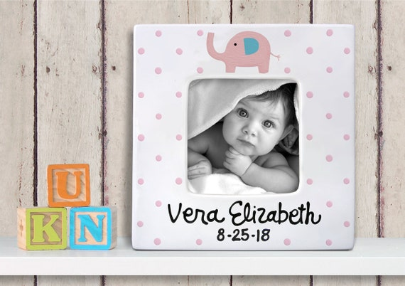 Personalized Baby Picture Frame - Pink Elephant - Hand Painted frame - New Baby Picture Frame -  New Parents - Baby Shower- Photo Frame