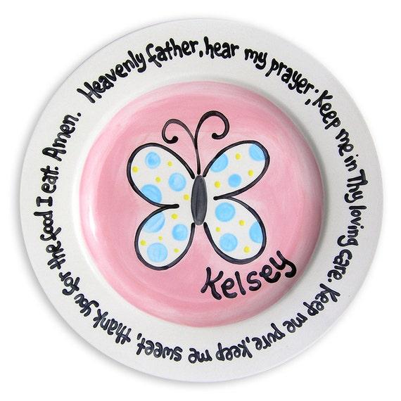 Christening Gift - Godparent  Godchild  Gift - Baby Boy Gift - Butterfly Ceramic Plate