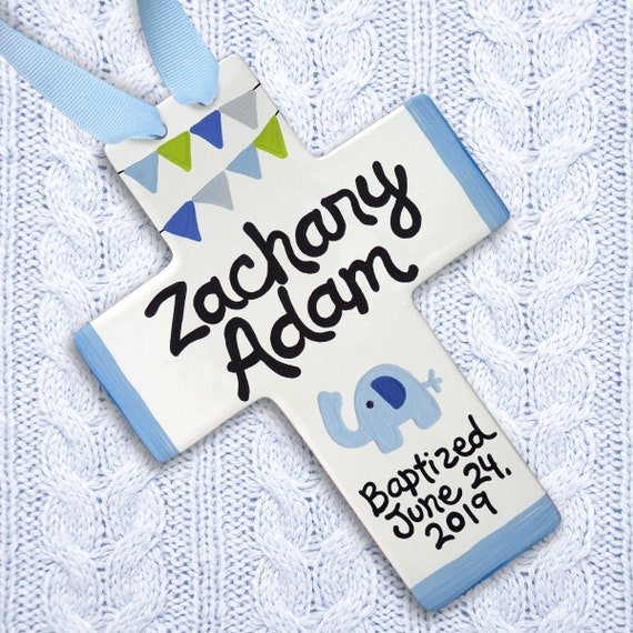 Blue Elephant Baptism Cross - Baby Dedication Gift - Baptism Gift Boy - Personalized Baptism Cross Blue Elephant Baby Shower Baby Dedication