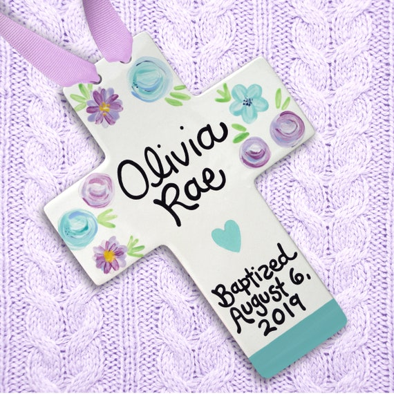 Lavender and Aqua Cross - Personalized Baptismal Cross - First Communion - Personalized Girls Baptism Gift - Dedication - Baptism Keepsake