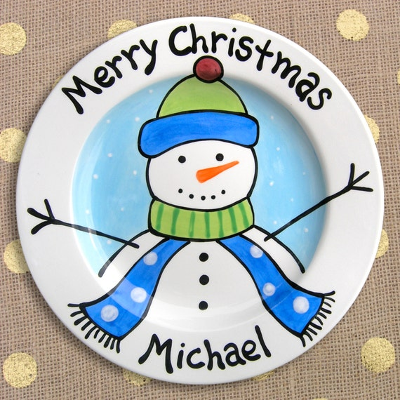 Christmas Plates - Personalized Kids Plates - Frosty the Snowman - Christmas Table - Hand Painted Plates - Christmas Dinnerware for Kids