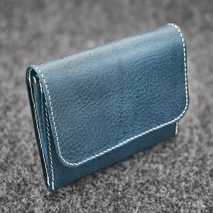 Hand-stitched leather wallet  Ocean Blue  Handmade