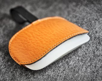 Leather Felt Apple Magic Mouse Case Hand-made Dyed