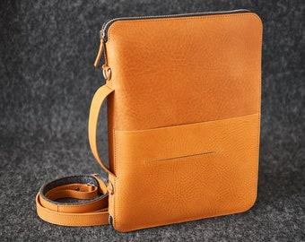 "Leather Travel Folio Organizer Portfolio Case iPad Pro 10.5"" iPad Pro 9.7"" Hand-made Shoulder strap"
