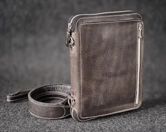 Leather Travel Folio Organizer Portfolio Case iPad Mini Hand-made