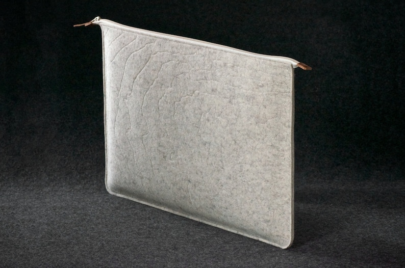Laptop Felt and Leather Folio Sleeve Hand-made