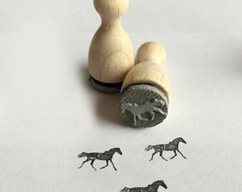 Stempel « Pferd Stute und Fohlen » Adressenstempel Motivstempel Holzstempel